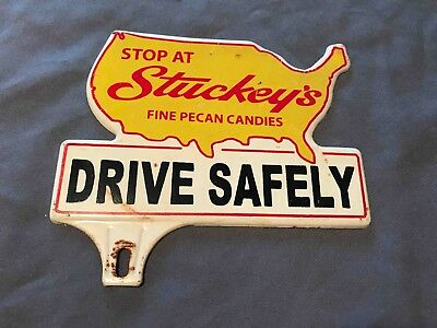 Old Stop @ Stucky's Fine Pecan Candies Tourist Why Stop Ad Licensee Plate Topper