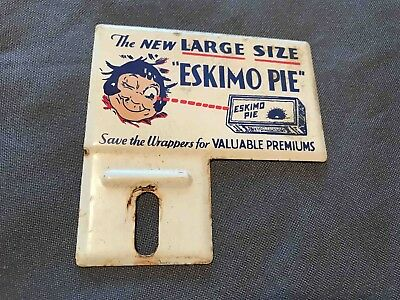 Old New Large Size Eskimo Pie Kid's Advertising Bicycle Tag Rack Topper Sign