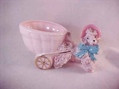 Vintage Pink Spaghetti Poodle With Wagon Planter