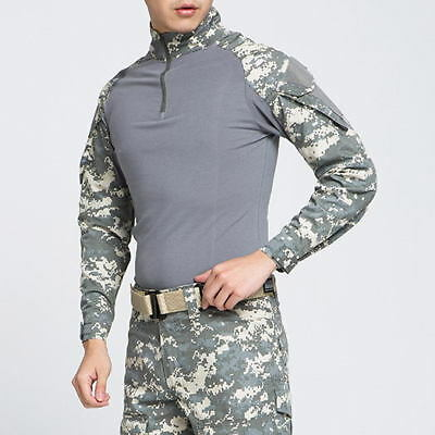 Mens Army Combat Tactical T Shirt Military Camouflage Long Sleeve Camo T-Shirts