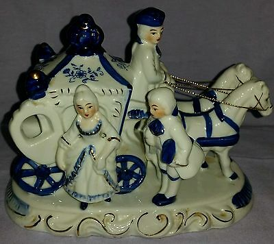 Vintage Mid Century 1950's Large Figurine Carriage & Horses Gold Trim