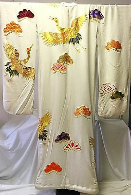 Vintage White Silk Japanese Uchikake Wedding Kimono with Cranes