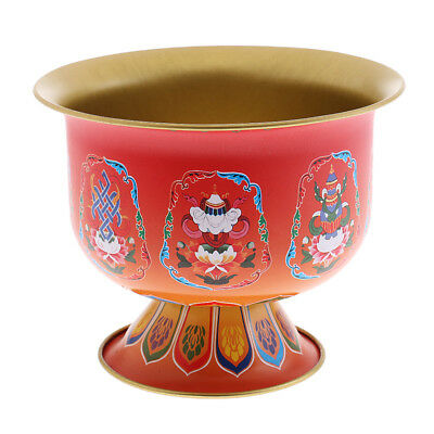 Tibetan buddha Alloy Eight Auspicious Symols Colored Holy Water Cup - 9.5cm
