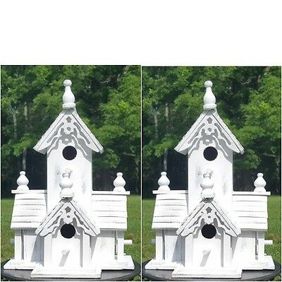 2 Large White Victorian Style Wood Birdhouses With Gingerbread Trim And 4 Holes