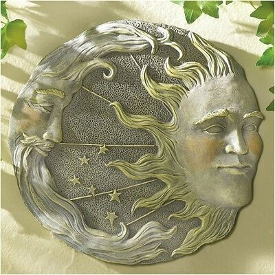 Stunning Indoor/ Outdoor Celestial Sun And Moon Wall Plaque With Stone Look