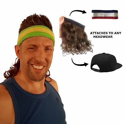 Magic Mullet Wig Attaches to ANY Headwear, Mullet Headband, 80's Wig