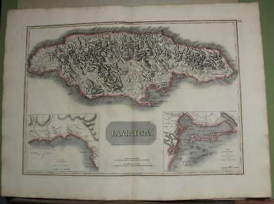 Jamaica West Indies 1817 John Thomson Antique Original Copper Engraved Map