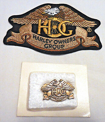 NEW! Harley Davidson HOG Owners Group Member Rocker Patch and Pin Set Brand New