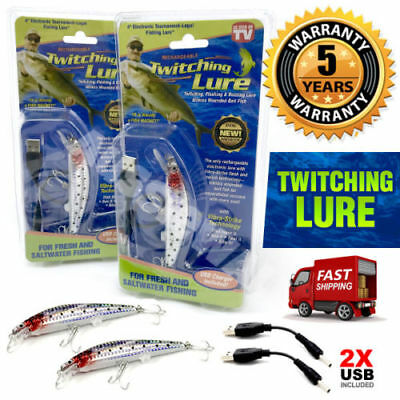 2x Twitching Fishing Lure As Seen On TV Light Vibration USB Charging Fish Tool