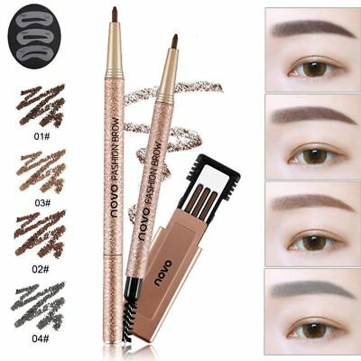 Waterproof Eyebrow Pen Eye Brow Pencil Brush+3 Replace Ink+3 Eyebrow Templates