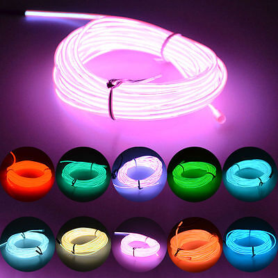5M DC 12V+Controller Luminescent Neon LED Lights Glow EL Wire String Strip Rope