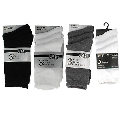 Bay Girls & Boys school ankle socks Black Grey or White