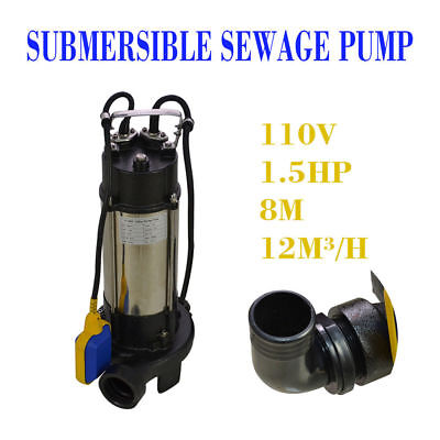 44GPM 1.5HP Industrial Sewage Cutter Grinder Submersible Sump Pump Good
