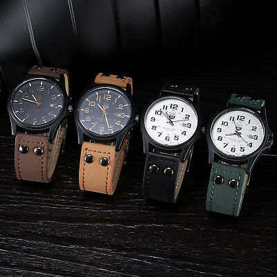 Men's Military Leather Date Watches Quartz Analog Army Casual  Wrist Watches