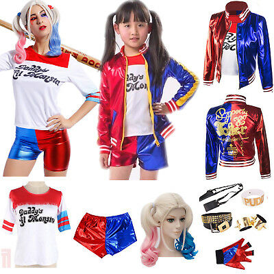 Women Girl Suicide Squad Harley Quinn Shirt Jacket Wig Glove Cosplay Costume Lot