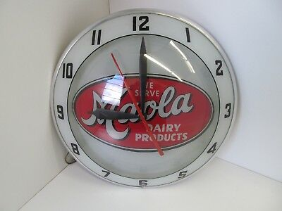 Original Maola Dairy Products  Double Bubble Glass Advertising Light Up Clock