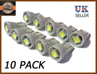 Classic Car White LED 501 T10 W5W Sidelight Interior Bulbs x10