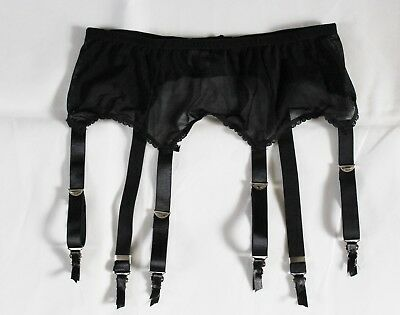 "Black 6 strap Suspender belt UK Size 16-20 32- 40"" Waist.wide strap metal Clips"