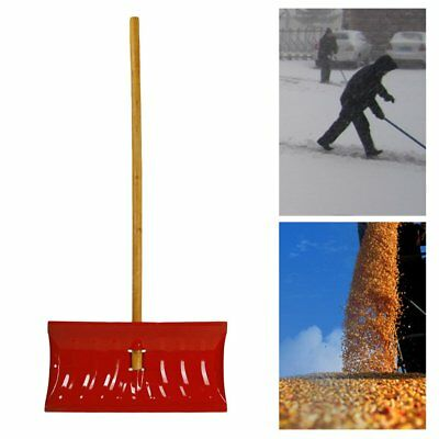 Snow Shovel Pusher Steel with Wooden Handle Garbage Shovel Cleaning Tool RO