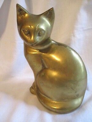 "Vintage Heavy Metal Hollow Brass 8"" Egyptian Sleek Cat Statue Figurine Korea MCM"