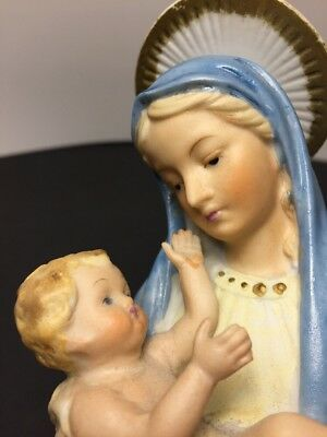 Vintage Madonna and Child Hand Painted Bust 6 Inches Tall