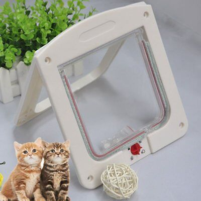 4 Way Locking Pet Cat Kitty Small Dog Doggy Puppy Flap Safe Door Tunnel RO