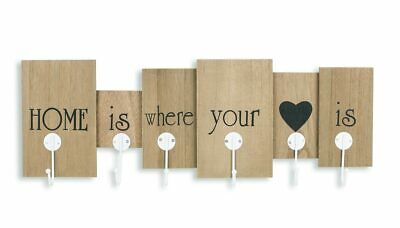 levandeo Coat Rack Wall Mounted 60 x 21 x 5 cm Wood Brown 6 Hooks Lettering