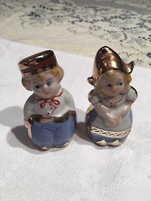 Estate  Decorative Salt and Pepper Shakers Dutch Boy and Girl Gold Painting