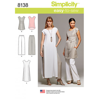 Misses Easy to Sew Tunics and Pull On Trousers Simplicity Sewing Pattern 8138