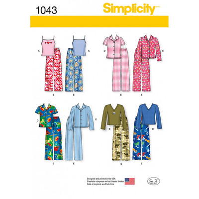Simplicity Sewing Pattern 1043 Child's, Girls' and Boys' Separates Pyjamas