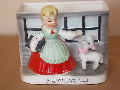 Vintage Mary Had A Little Lamb Planter