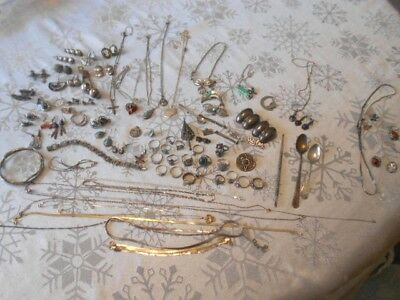 Vintage Large Lot of Sterling Silver Jewelry Rings Necklace Pin Spoons Over 1 lb