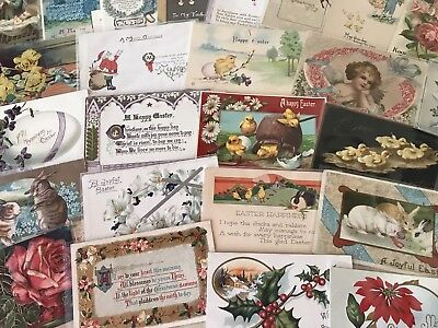 Vintage Mixed Lot of 93 Holidays & Greetings Postcards-Antique-~in Sleeves-p182