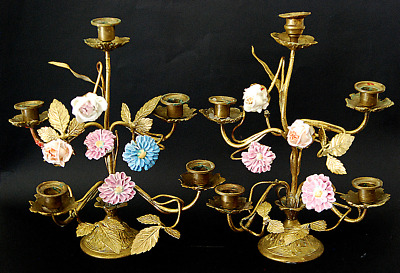 PAIR ANTIQUE FRENCH BRASS CANDELABRA CANDLESTICKS w PORCELAIN FLOWERS