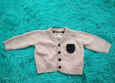 CHEROKEE BABY BOY 0-3 months Sweater knit cardigan cream grey buttons Clothes
