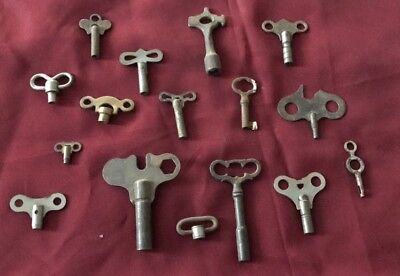 16 Clock Keys - Old - Antique-Vintage