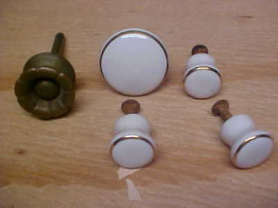 Antique White Porcelain cabinet and drawer Knobs trimmed in gold