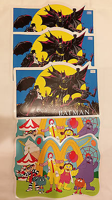 1992 Batman DC Comics Placemats 1993 McDonalds Restaurant Mat Fast Food Vinyl