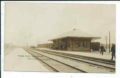 RPPC Postcard Schumann Photographer Penn R.R. Train Depot Indiana Harbor IN