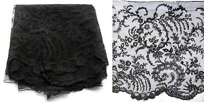 Antique Mid Victorian French Black Chantilly Lace Flounce Length Trim 1855-1860
