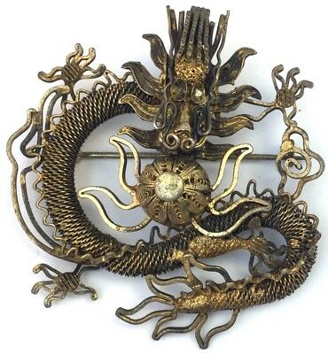 Vintage Antique Dragon Brooch Chinese Export Jewelry Filigree Metal Pin Ornate