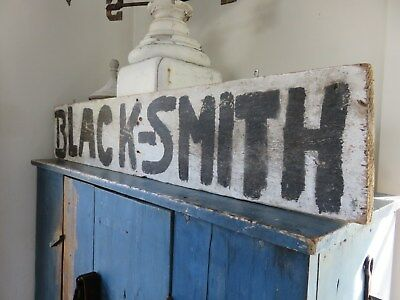"Lrg Primitive Antique Wooden Hand Painted "" Black-Smith "" Sign, Aafa"