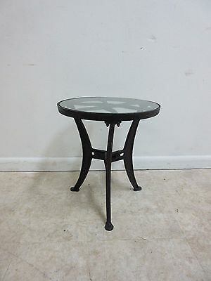 Vintage Industrial Reclaimed Cast Iron Pulley Wheel End Table Pedestal A