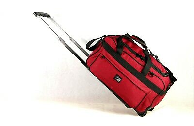 New Cabin-Size Heavy-Duty Water-Proof Rolling Duffel with Shoulder Strap,  RED
