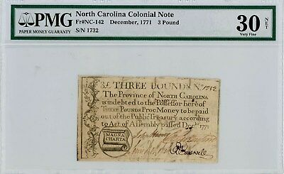 Fr. NC-142 3 Pound North Carolina Colonial Note December, 1771 VF30 Net PMG