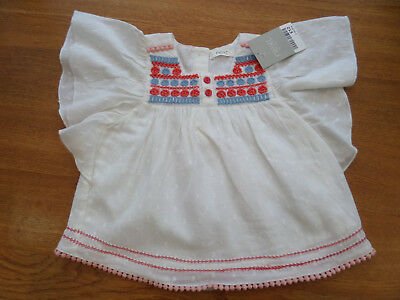 Next Baby Girls White 100% Cotton Lined Gypsy/Folk Top/Blouse - BNWT