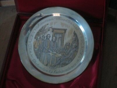 """Danbury Mint 24K On Sterling Silver Declaration of Independence 1776 8"""" Plate"""