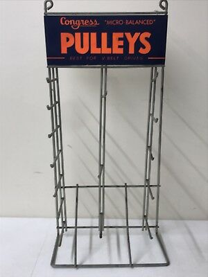 "Congress Pulleys - Antique Store Counter Display Retail Rack 21"" Tall 10"" Wide"