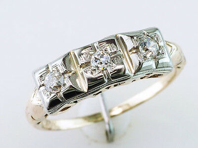 Vintage Antique .35ct Diamond 14K Yellow Gold Art Deco Wedding Ring Band