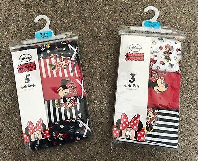 New Disney Minnie Mouse Girls Briefs Pants Knickers Vests Various Sizes Primark